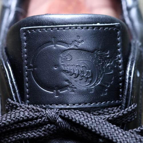 Logo embossing on shoes