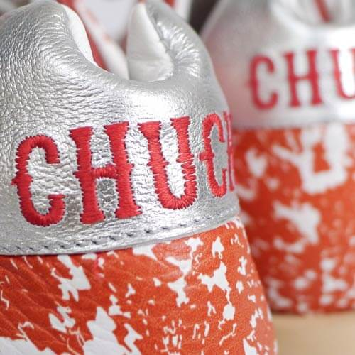 Logo embroidery on shoes