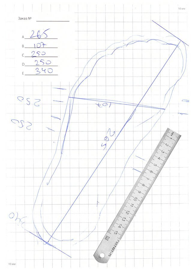 Пример сканированных измерений ваших стоп согласно инструкции - левая нога