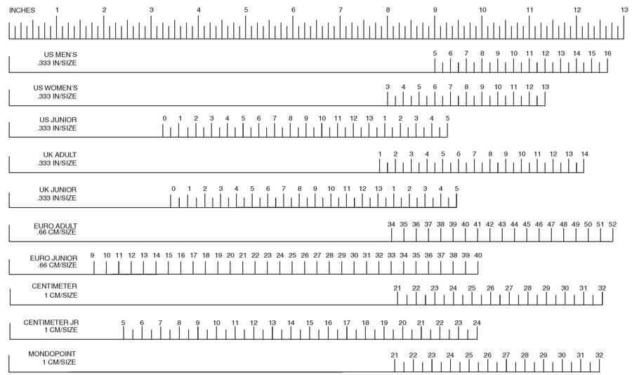 Таблица соответствия размеров - Shoe size chart